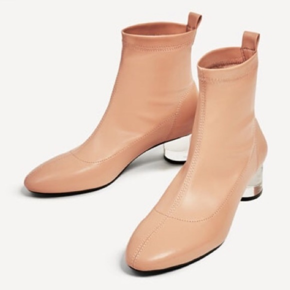 a075148a349 Zara Nude Pink Ankle Bootie Heels Size 11